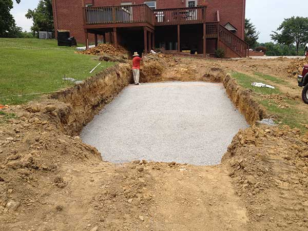 pool hole leveled with gravel