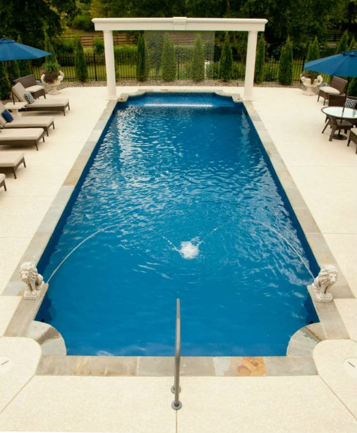 Trilogy Regulus Rectangle shaped pool. Swim World Pools.